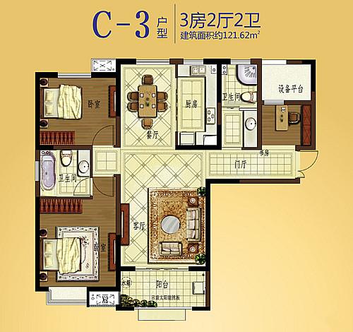 户型解析┃弘宇·雍景湾C-3户型