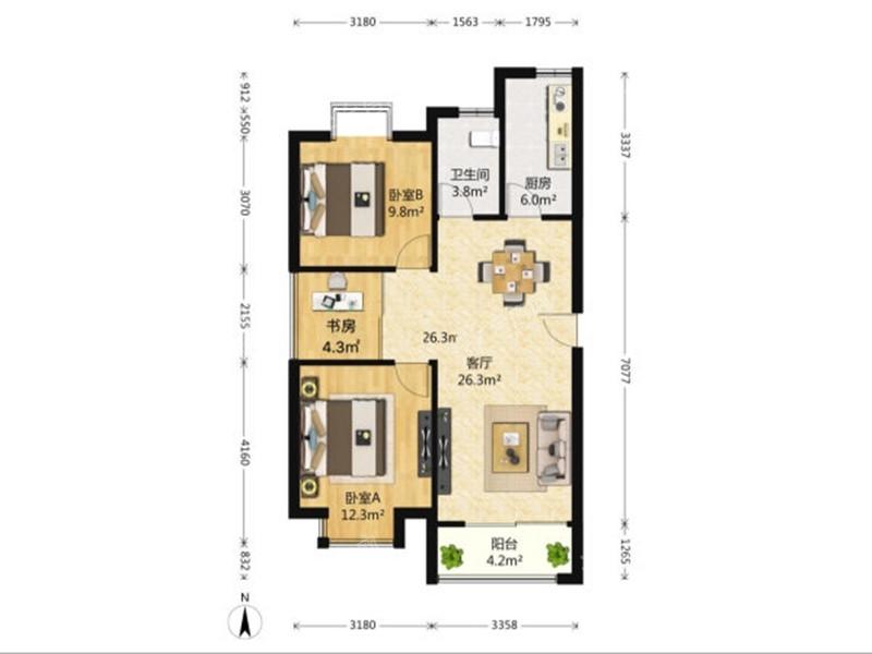 [利港银河广场]利港银河广场3房低价出售172万
