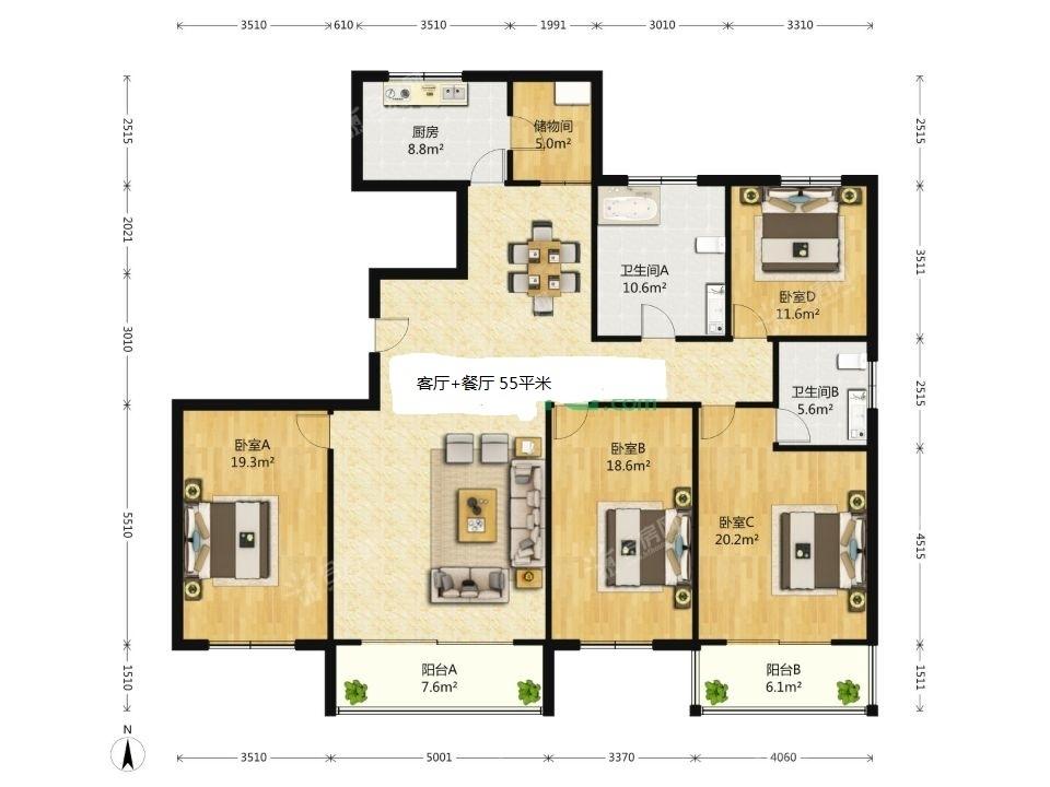 [报业园]经开区和谐家园4房2厅2卫3阳台196平米电梯房出售